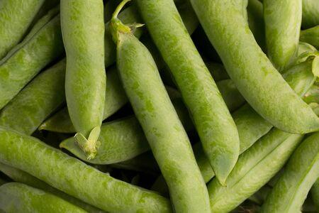 Pods of green peas close-up. Stok Fotoğraf - 128714489