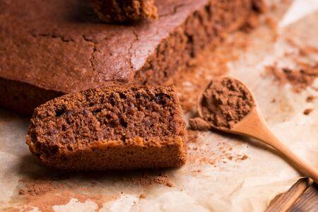 Fresh sliced chocolate cake closeup.