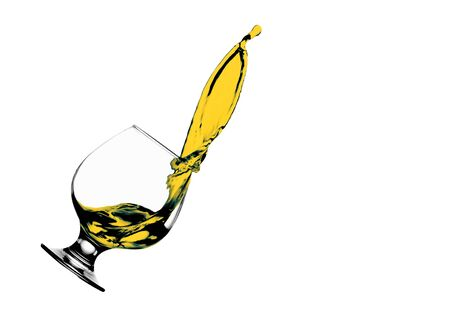 Alcohol whiskey in a glass splash isolate on white background. Stok Fotoğraf
