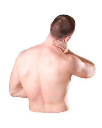 Dolor en el cuello de un hombre.