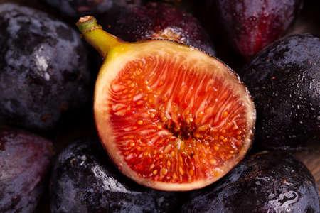 Ripe fig fruit in a cut close-up.