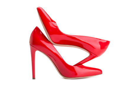 Red high-heeled shoes. High heel. Women's shoe park. Archivio Fotografico - 158248858