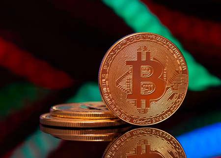 Bitcoin close up.