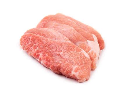 Pork tenderloin isolate on a white background. Fresh pork. Archivio Fotografico - 158631593