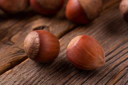 Hazelnut in shell close-up. Archivio Fotografico - 158580586