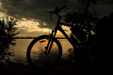 Mountain bike at sunset.