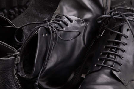 Genuine leather boots close up.