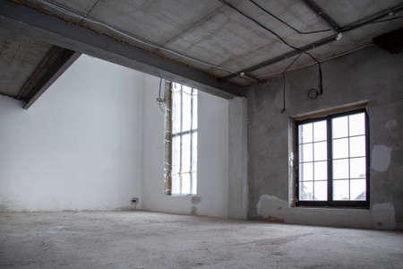 Interior construction of warehouse concrete wall. Archivio Fotografico