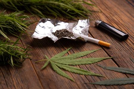 Marijuana on the table close-up.
