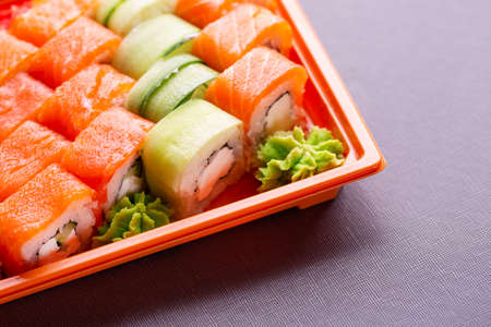 Overhead japanese sushi food. Fresh and delicious sushi Japanese food. Set of fresh rolls and sushi. Фото со стока
