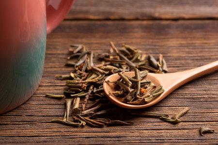 Sagan daila tea leaves close up. Sagan daila tea leaves in a spoon.