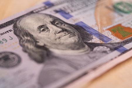 One hundred dollar bill close-up.