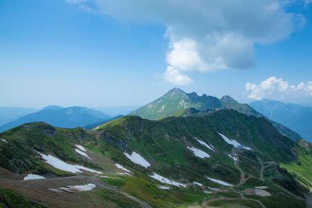 Beautiful view of the ridge of mountains in Krasnaya Polyana