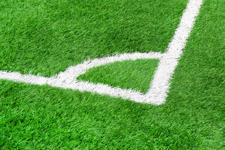 The corner of a soccer field close up. Corner in football.