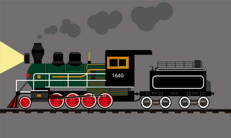 old locomotive railroad railway history retro rail Illustration
