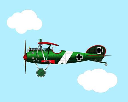 old green war biplane Albatross flight history Illustration