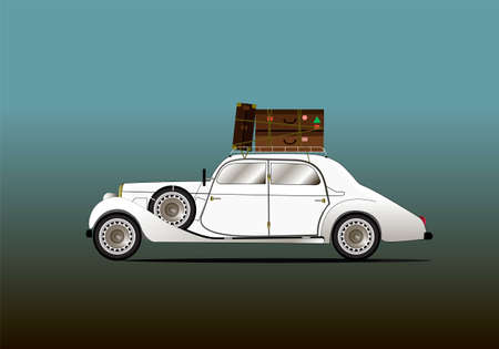 Antique classic white car with luggage on the roof