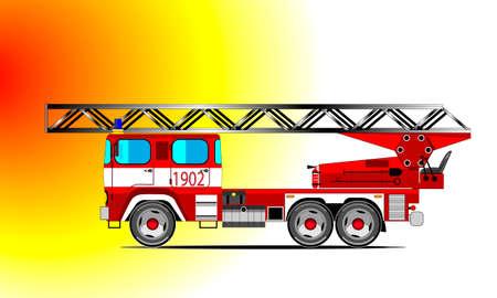Red fire car Illustration