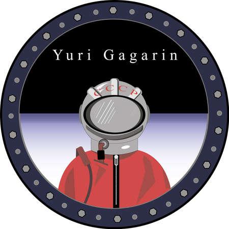 cosmonaut Yuri Gagarin in the porthole