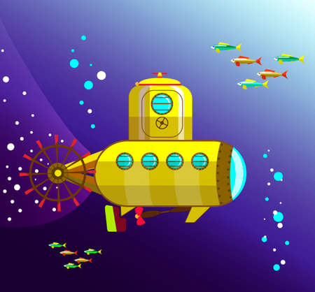 A bathyscaphe floating in the ocean at depths under the water Illustration