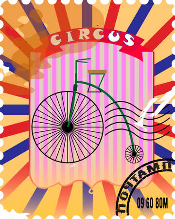 a postal stamp of a circus poster high bike on a multi-colored background