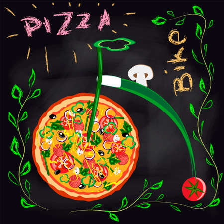 poster round hot pizza