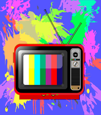 old color TV with antenna with multi-colored background of blots Illustration