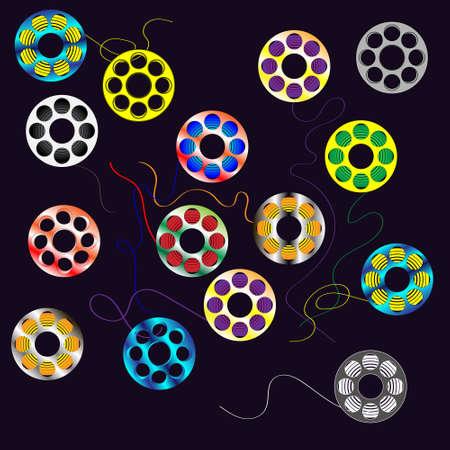 bobinas multicolores para hilo