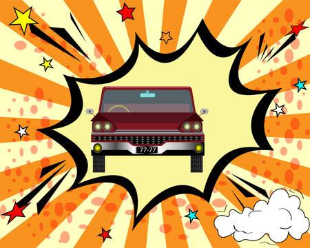 retro car in comic style