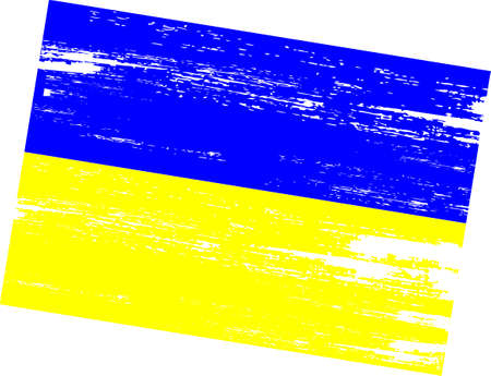 Ukrainian flag with grunge texture on white background Stock Photo
