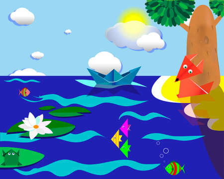 fabulous summer landscape of origami on a blue background Stockfoto
