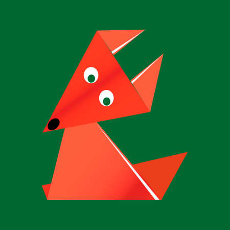 origami orange paper fox on a green background
