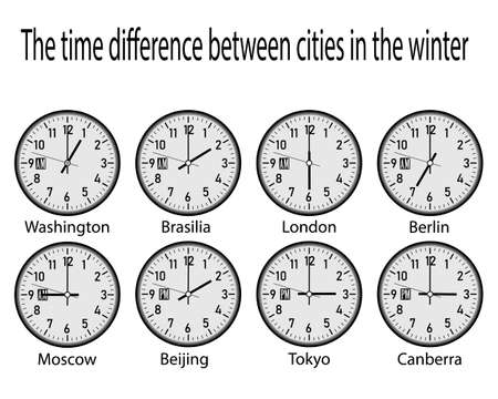 clock with time zones on a white background Иллюстрация