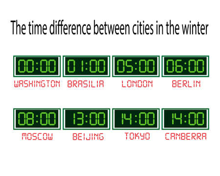 clock with time zones on a white background Vector Illustration