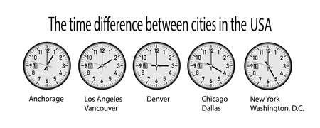 orologio da parete che mostra il tempo in diverse città degli Stati Uniti
