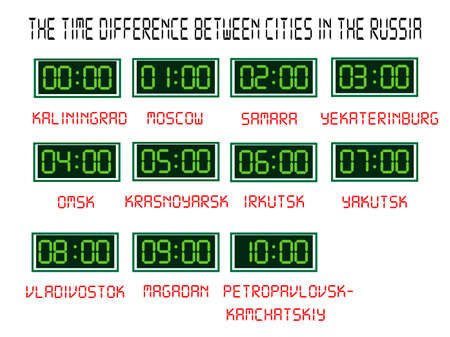 wall clock showing time in different cities of Russia on a white background  イラスト・ベクター素材