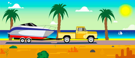 car with a boat on a trailer running along the sea coast
