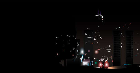 car among the lights of the night city