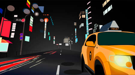 landscape of a night city with a walking taxi