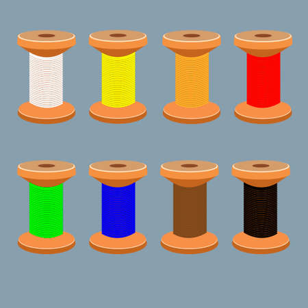 a set of coils with multi-colored textile threads Illustration