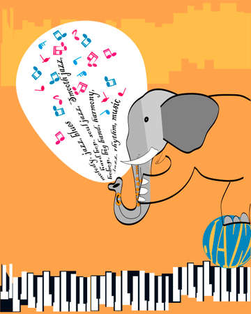 poster with an elephant playing jazz Stock Photo