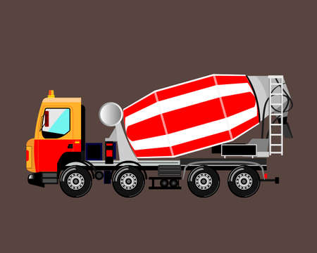 modern concrete mixer truck on a gray background