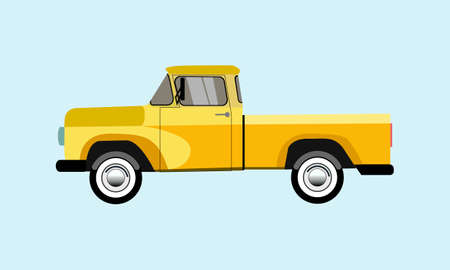 old pickup yellow on a blue background Illustration