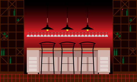 Drinking establishment. Interior of pub, cafe or bar. Bar counter, chairs and shelves with alcohol bottles. Wooden decor. Vector illustration in flat style Vector Illustration