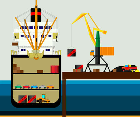 Cargo logistics truck and transportation container ship with working crane import export transport industry. illustration vector Stockfoto - 113556318