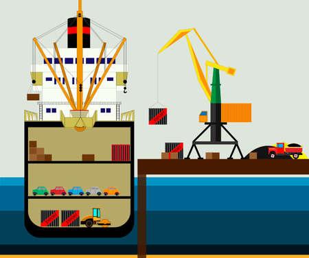 Vrachtlogistiek vrachtwagen en transport containerschip met werkende kraan import export transportindustrie. illustratie vector Vector Illustratie