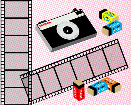 Old film camera, film, and film in the package. Coarse-grained background. Vector illustration. Ilustrace