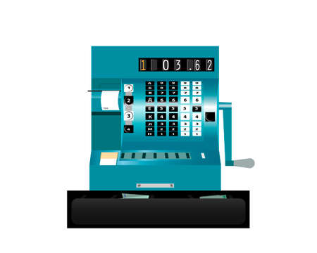 Vintage cash register on a white background. Front view. Vector. Иллюстрация