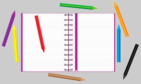 色鉛筆が散らばったノートを開きます。ベクターの図。