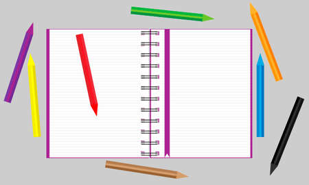 Open notebook with scattered colored pencils. Vector illustration.
